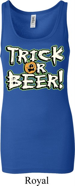 Image of Ladies Halloween Tanktop Trick Or Beer Longer Length Tank Top