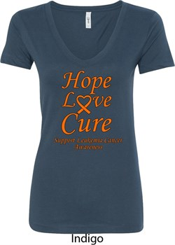 Image of Ladies Leukemia Cancer Awareness Hope Love Cure V-Neck