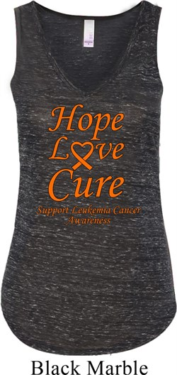 Image of Ladies Leukemia Cancer Hope Love Cure Flowy V-neck Tank Top