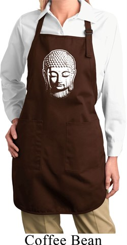Image of Ladies Little Buddha Head Full Length Apron with Pockets
