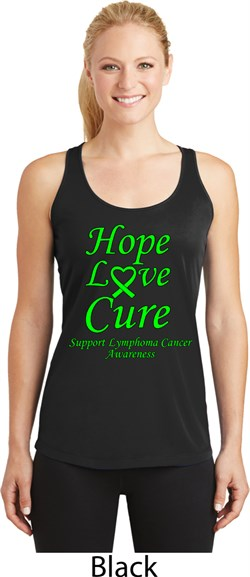 Image of Ladies Lymphoma Cancer Hope Love Cure Dry Wicking Racerback