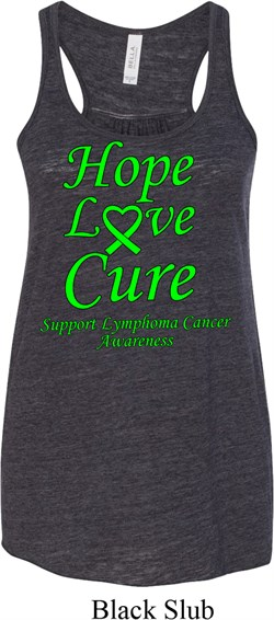 Image of Ladies Lymphoma Cancer Hope Love Cure Flowy Racerback