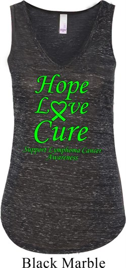 Image of Ladies Lymphoma Cancer Hope Love Cure Flowy V-neck Tank Top