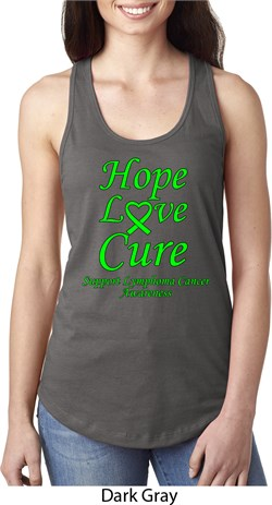Image of Ladies Lymphoma Cancer Hope Love Cure Ideal Racerback