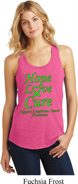 Image of Ladies Lymphoma Cancer Hope Love Cure Racerback
