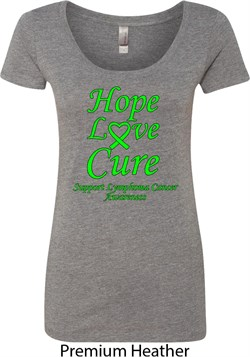 Image of Ladies Lymphoma Cancer Hope Love Cure Scoop Neck