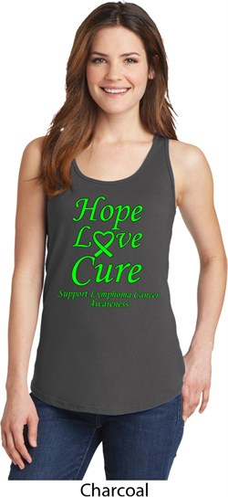 Image of Ladies Lymphoma Cancer Hope Love Cure Tank Top