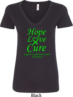 Image of Ladies Lymphoma Cancer Hope Love Cure V-Neck