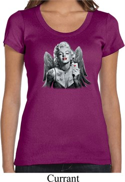 Ladies Marilyn Monroe Shirt Marilyn Butterfly Scoop Neck Tee T-Shirt