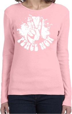 Ladies Peace Shirt Peace Now Long Sleeve Tee T-Shirt