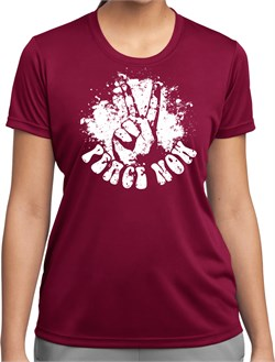 Image of Ladies Peace Shirt Peace Now Moisture Wicking Tee T-Shirt