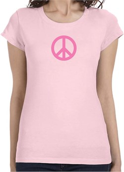 Ladies Peace Shirt Pink Peace Longer Length Tee T-Shirt