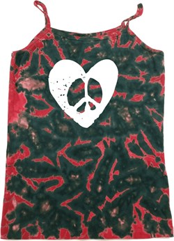 Image of Ladies Peace Tank Top Hippie Heart Peace Tie Dye Camisole