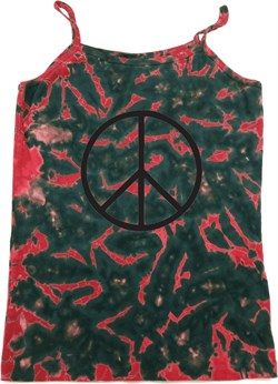 Image of Ladies Peace Tanktop Basic Peace Black Tie Dye Camisole Tank Top