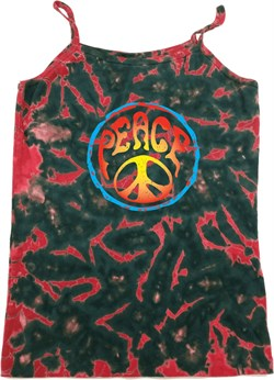 Image of Ladies Peace Tanktop Psychedelic Peace Tie Dye Camisole Tank Top