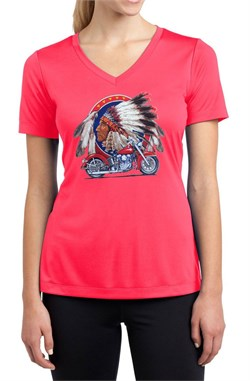 Motorcycle   Moisture   Indian   V-neck   Chief   Shirt   Lady   Big   Tee