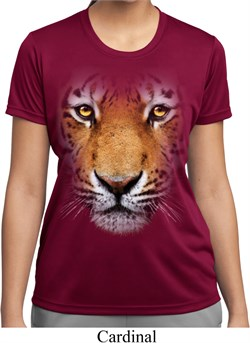 Ladies Shirt Big Tiger Face Moisture Wicking Tee T-Shirt