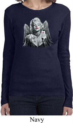 Ladies Shirt Marilyn Butterfly Long Sleeve Tee T-Shirt