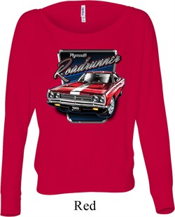 Image of Ladies Shirt Plymouth Roadrunner Off Shoulder Tee T-Shirt