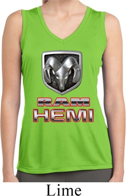 Image of Ladies Shirt Ram Hemi Logo Sleeveless Moisture Wicking Tee T-Shirt