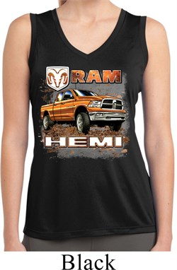 Image of Ladies Shirt Ram Hemi Trucks Sleeveless Moisture Wicking Tee T-Shirt