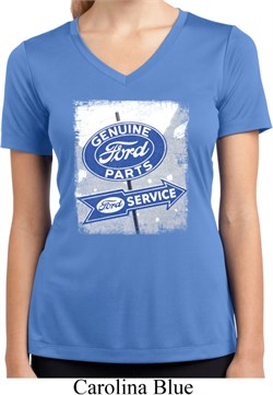 Image of Ladies Shirt Vintage Sign Genuine Ford Moisture Wicking V-neck Tee