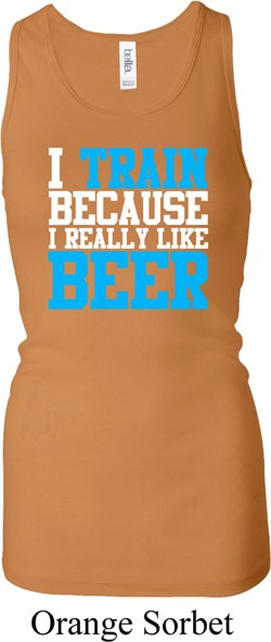 Image of Ladies Tanktop I Train For Beer Longer Length Racerback Tank