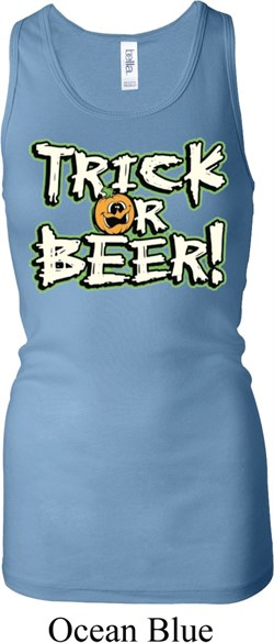 Image of Ladies Tanktop Trick Or Beer Longer Length Racerback Tank Top