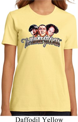 Image of Ladies Three Stooges Shirt Stooges Faces Organic Tee T-Shirt