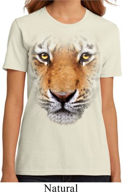 Ladies Tiger Shirt Big Tiger Face Organic T-Shirt