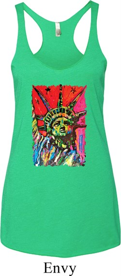 Image of Ladies USA Tank Top Statue of Liberty Painting Tri Blend Racerback