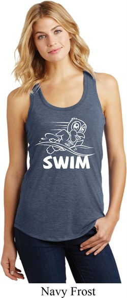 Image of Ladies White Penguin Power Swim Racerback Tank Top