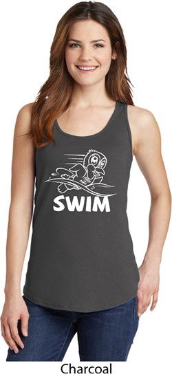 Image of Ladies White Penguin Power Swim Tank Top