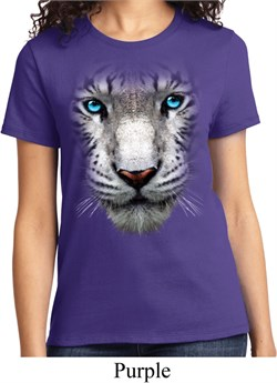 Ladies White Tiger Shirt Big White Tiger Face Tee T-Shirt