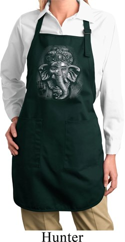 Image of Ladies Yoga Apron 3D Ganesha Darks Full Length Apron with Pockets