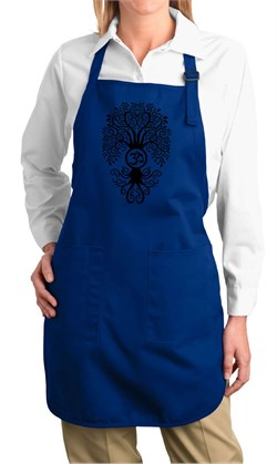 Image of Ladies Yoga Apron Black Bodhi Tree Full Length Apron with Pockets