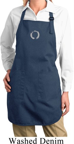 Image of Ladies Yoga Apron Enso Small Print Full Length Apron with Pockets