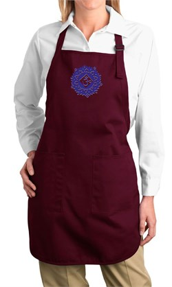 Image of Ladies Yoga Apron Floral Sahasrara Full Length Apron with Pockets