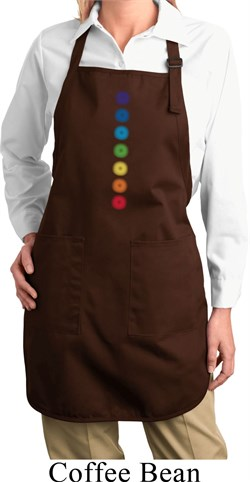 Image of Ladies Yoga Apron Glowing Chakras Full Length Apron with Pockets