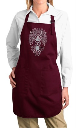 Image of Ladies Yoga Apron Grey Bodhi Tree Full Length Apron with Pockets