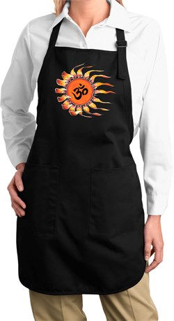 Image of Ladies Yoga Apron Ohm Sun Full Length Apron with Pockets