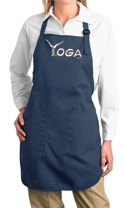 Image of Ladies Yoga Apron Yoga Spelling Full Length Apron with Pockets