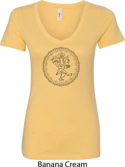 Image of Ladies Yoga Circle Ganesha Black Print V-neck Shirt