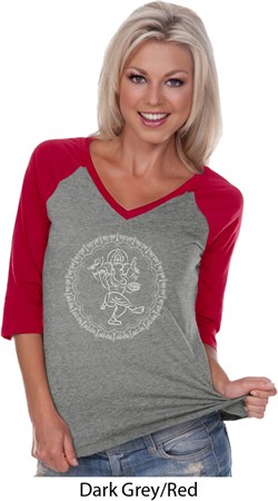 Image of Ladies Yoga Circle Ganesha White Print 3/4 Sleeve V-neck Raglan