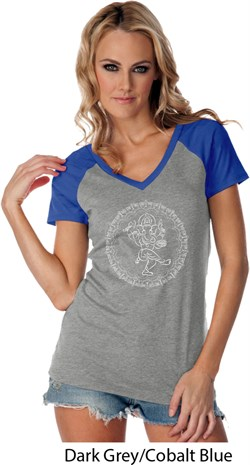 Image of Ladies Yoga Circle Ganesha White Print Contrast V-neck