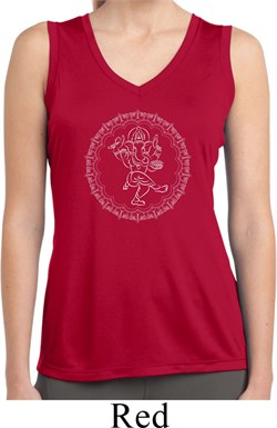 Image of Ladies Yoga Circle Ganesha White Print Dry Wicking Sleeveless Shirt