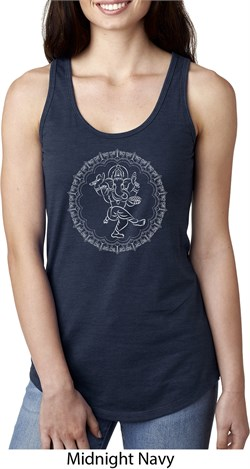 Image of Ladies Yoga Circle Ganesha White Print Ideal Racerback