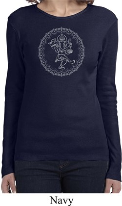 Image of Ladies Yoga Circle Ganesha White Print Long Sleeve