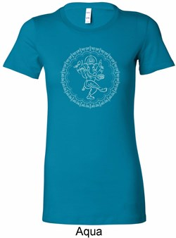 Image of Ladies Yoga Circle Ganesha White Print Longer Length Shirt