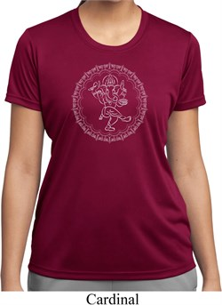 Image of Ladies Yoga Circle Ganesha White Print Moisture Wicking Shirt